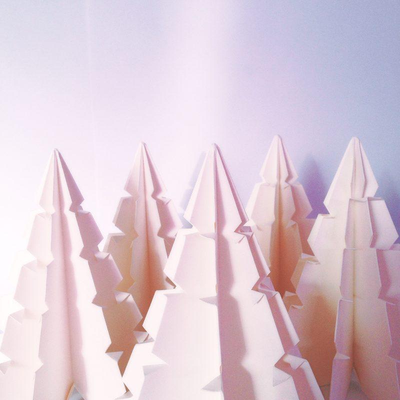 White minimalist origami christmas trees